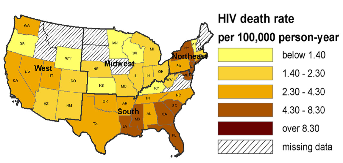 Aids Map Of Us - Aids map us